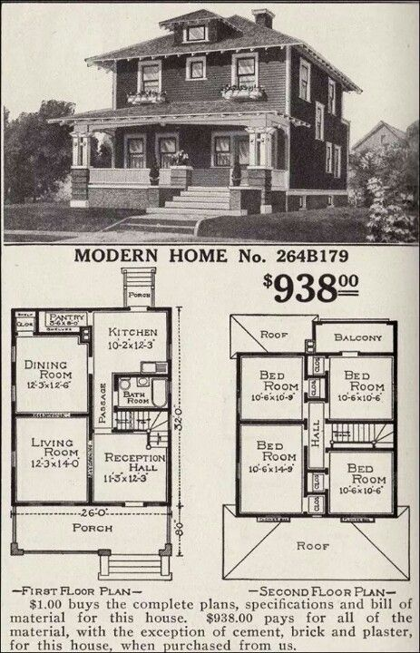 The American Foursquare Or American Four Square Is An American House Style Popular From The Mid 1890s To The Four Square Homes Vintage House Plans House Plans