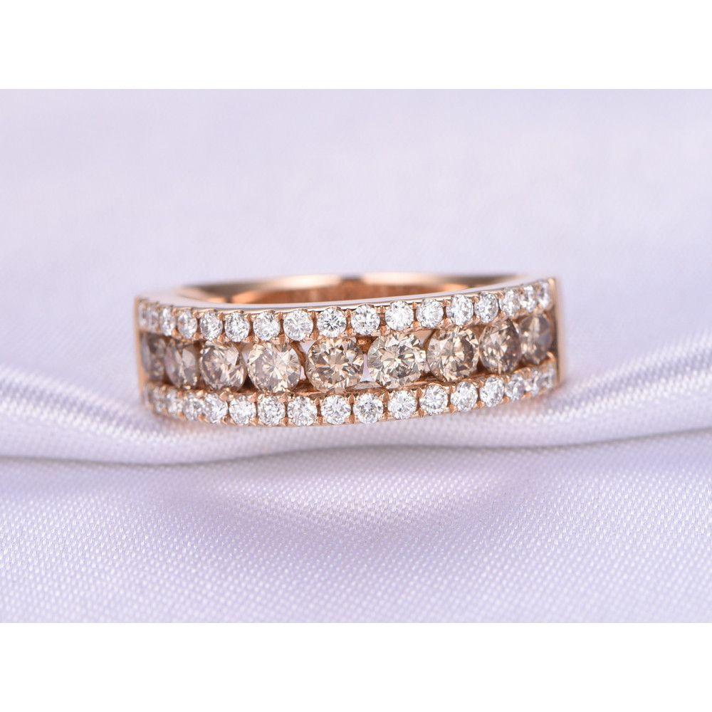 1 25ct Round Cut Champagne Diamond Wedding Band 14k Rose Gold Half Eternity Ring