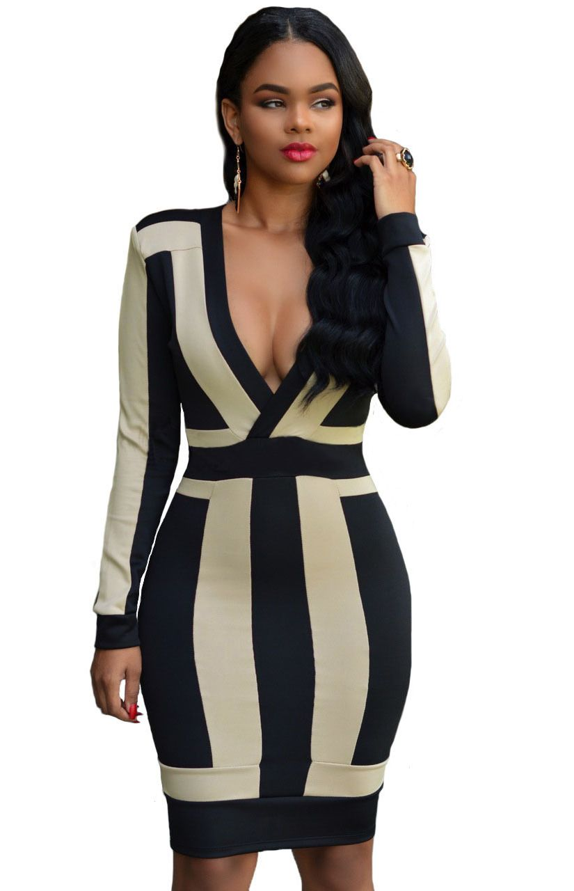 Long sleeve black and white color block dress sexy ladies