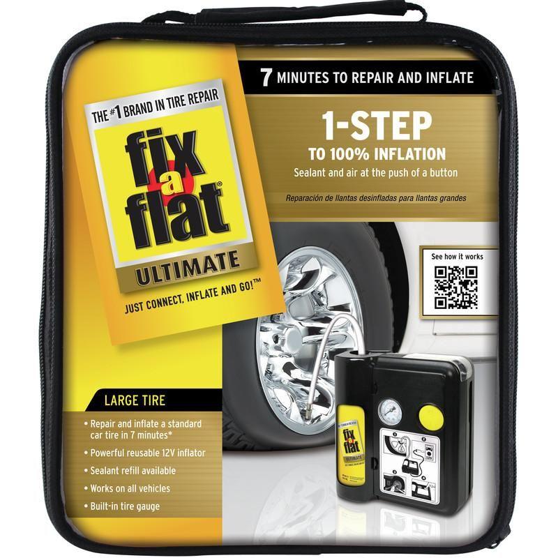 The FixaFlat Ultimate 1Step Tire Repair Kit seals flat