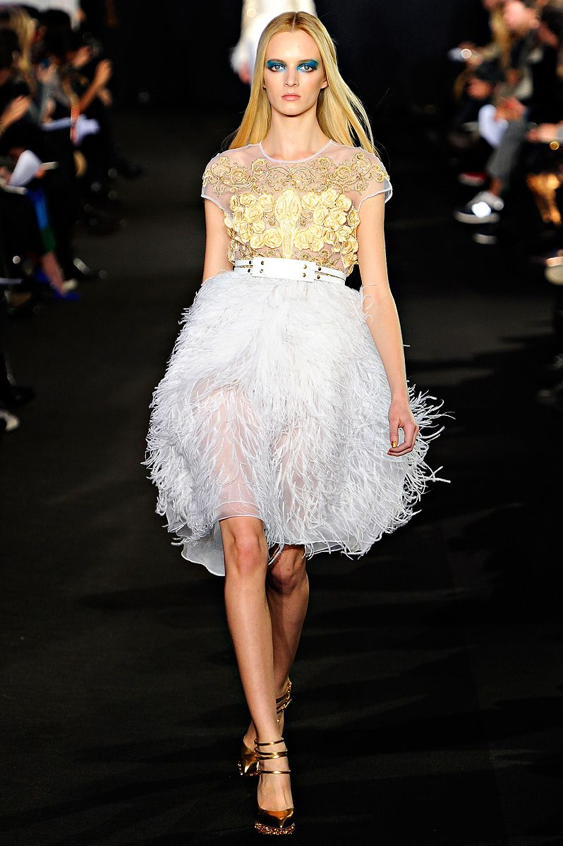 It gets me every time, feathers and something shiny on the top - Prabal Gurung Fall 2012