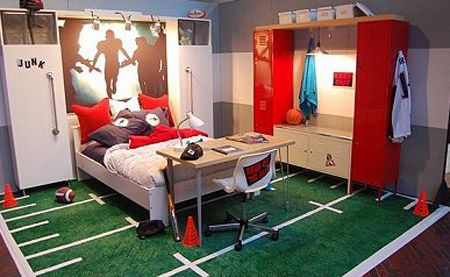 American Football Locker Theme Boys Bedroom Sport Design Picture