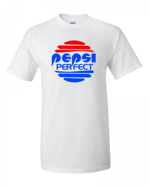 "Back To The Future PEPSI PERFECT Gildan 2000 Ultra Cotton™ T-Shirt Sizes small to 5XL. 100% jersey knit   Pre-shrunk   Seamless, double-need ⅞"" collar   Taped neck and shoulders   Classic fit    Your typical 100% cotton t-shirt. Pre-shrunk to make sure your size is maintained, and classic fit, meaning it is not form fitted in the sides."