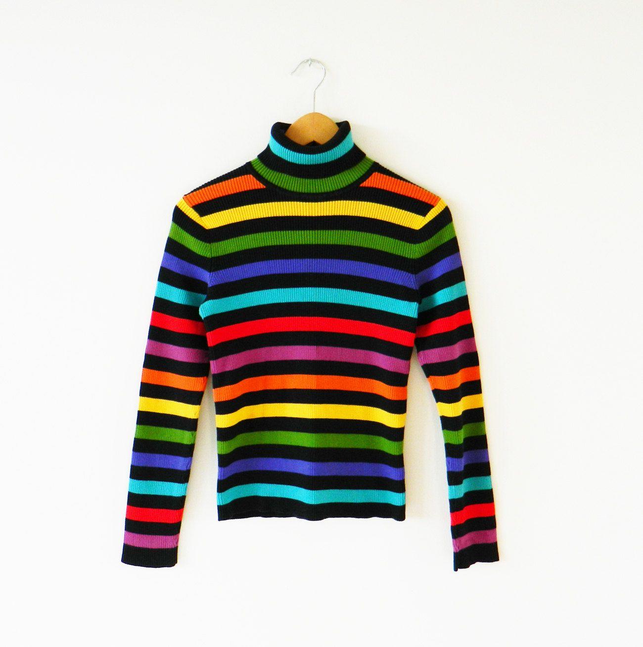 Bold Vintage Rainbow Turtleneck Bright Striped Turtleneck