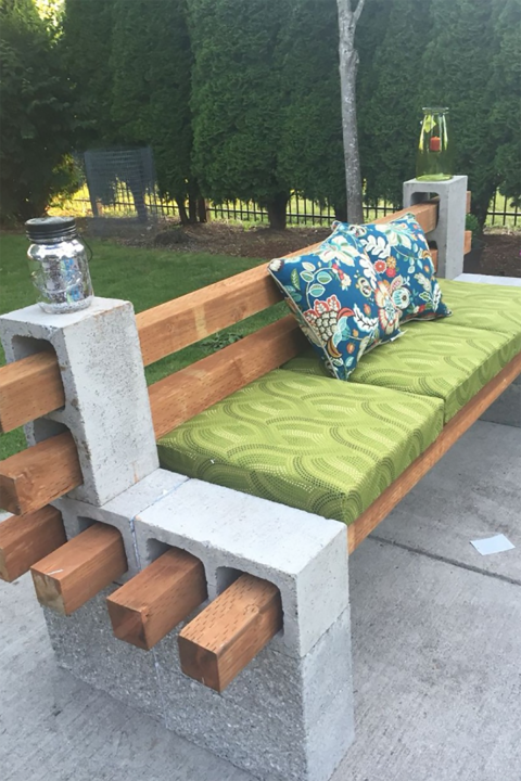 This has to be the easiest way to build a bench we've ever seen. Just make sure to secure the back rest with concrete glue.