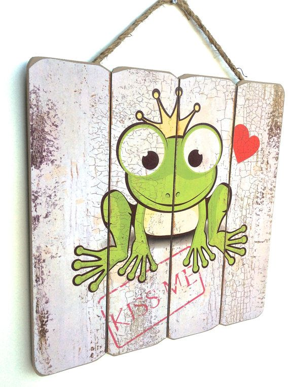 Kiss Me Sign Frog Decor The Frog Prince Art Kiss Me by RetroSignz