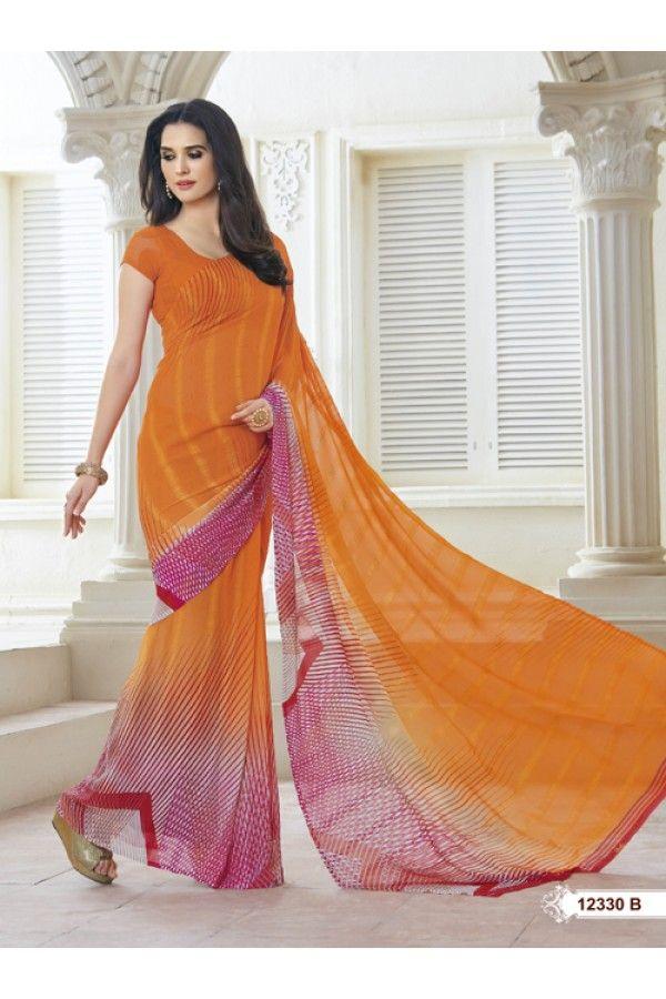 Casual Wear Orange Marble Gerogette Saree  - BELA-12330-B