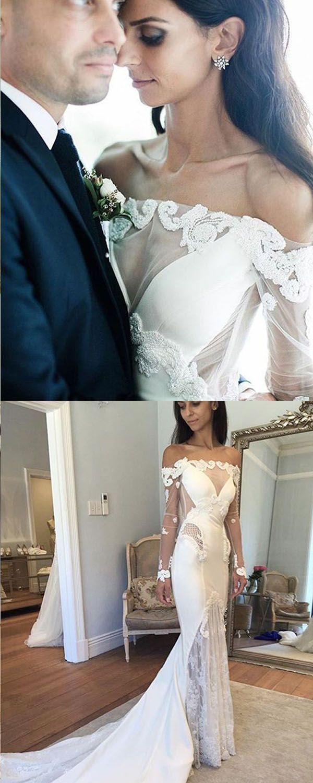 Off the shoulder lace mermaid wedding dress  mermaid wedding dresses with lace appliques off the shoulder bridal
