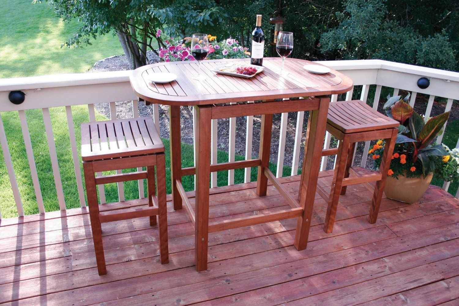 Small kitchen table and 2 chairs  Amazon Outdoor Interiors  Patio Pub Height Super Stool
