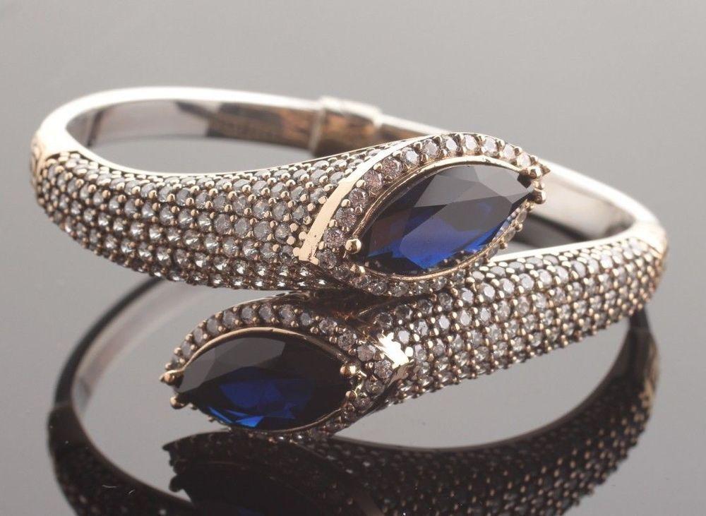 Turkish Handmade Jewelry Sterling Silver 925 Mystic Topaz  Bracelet Bangle Cuff