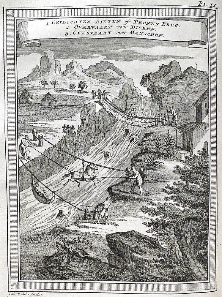 FIRST EDITION OF THE TRANSLATION (1st Sp out:.. 1748), the travels of the Spanish Navy officers and astronomers Ulloa (1716-1795) and Juan de Santa Cilia (1713-1773), both sent with a French scientific mission to Ecuador . Contains descriptions of the seas, cities such as Quito and Lima and local fauna but also the history of the Incas and a report of the degree measurements on the equator to determine the shape of the earth. Illustrated with 11 plates history to Harmanus Vinkeles and Jacob…