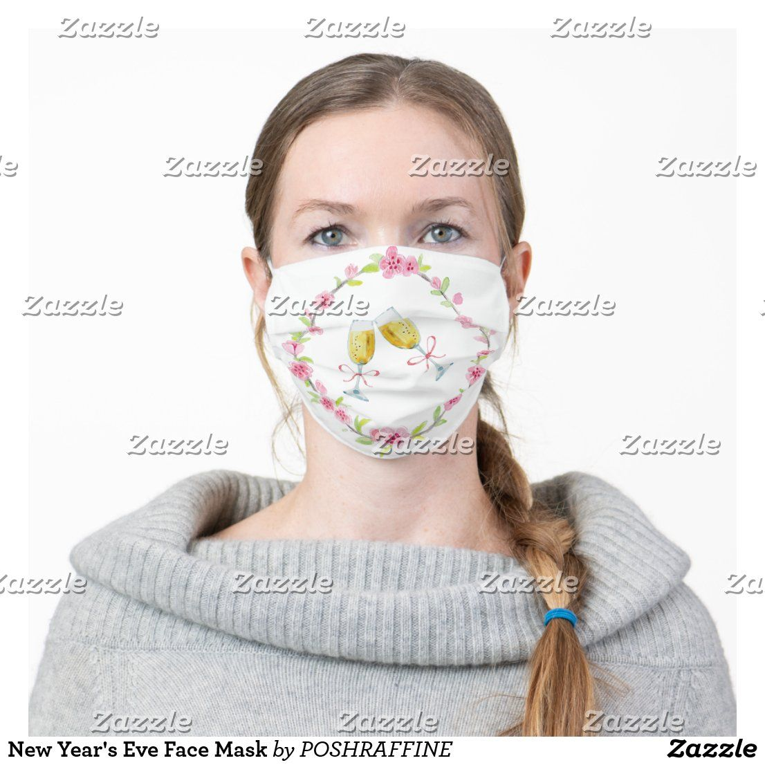 New Year S Eve Face Mask Zazzle Com In 2020 Face Mask Pink And Blue Flowers Mask