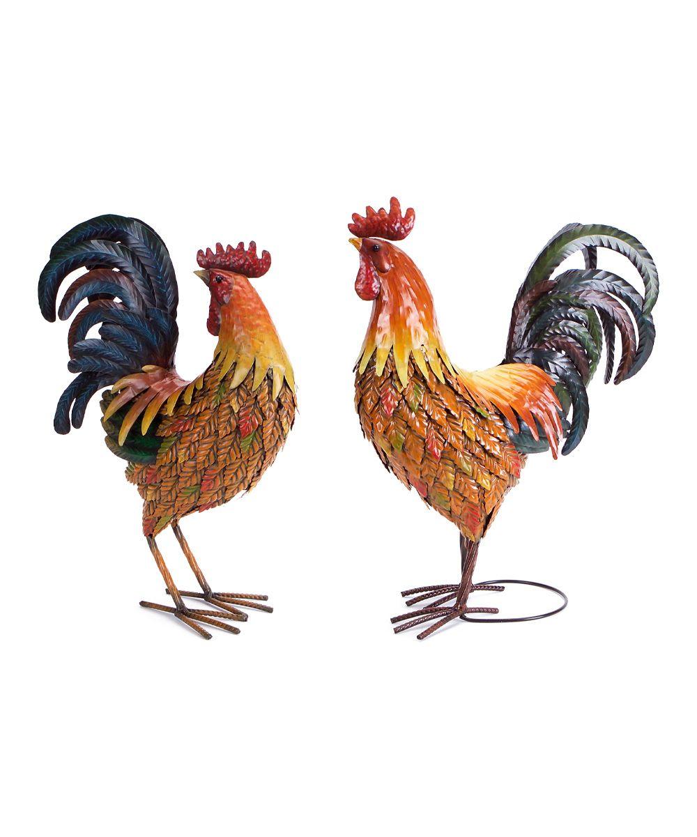 Rooster Figurine Set