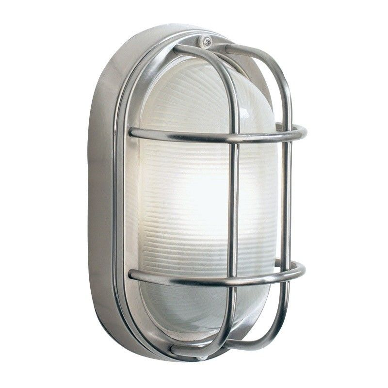 Dar Salcombe Stainless Steel Outdoor Wall Light Oval