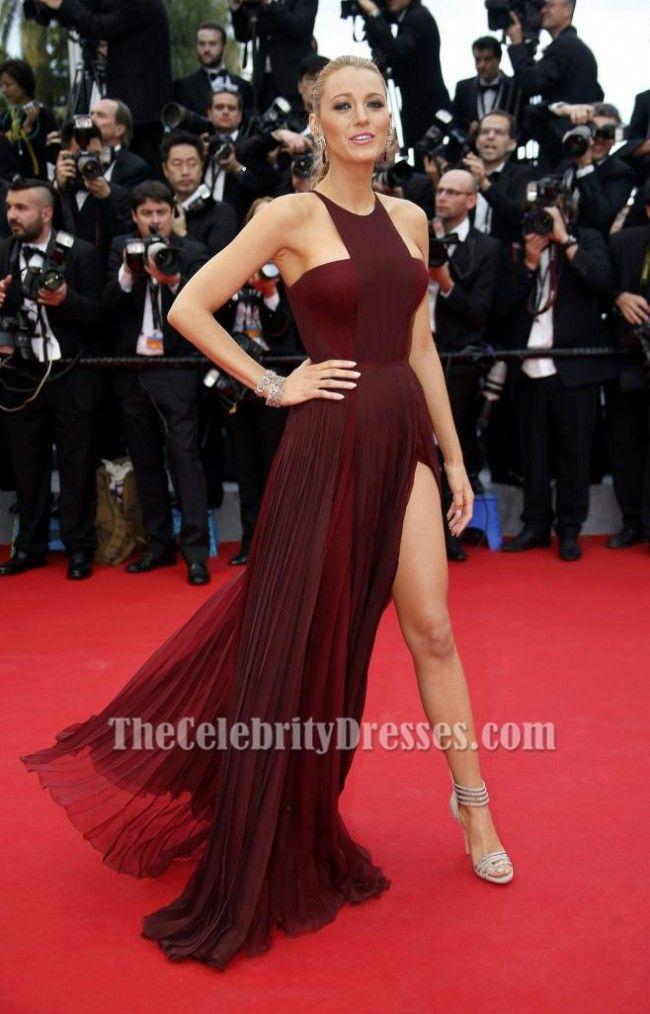 Blake Lively Burgundy Prom Dress Cannes 2014 Red Carpet