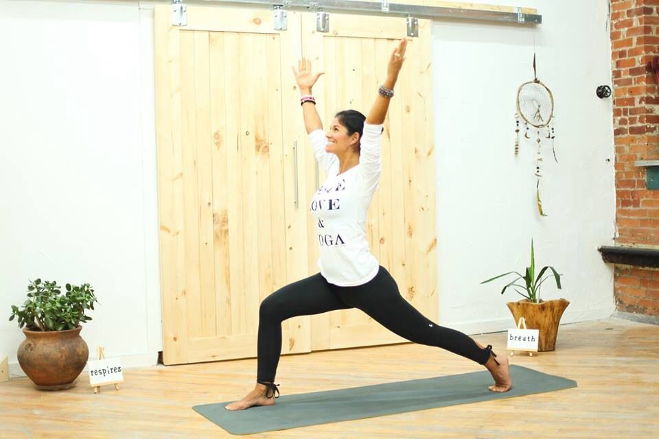 Free yoga class on our youtube channel.  Warrior one.  Yoga. With julie marchand.