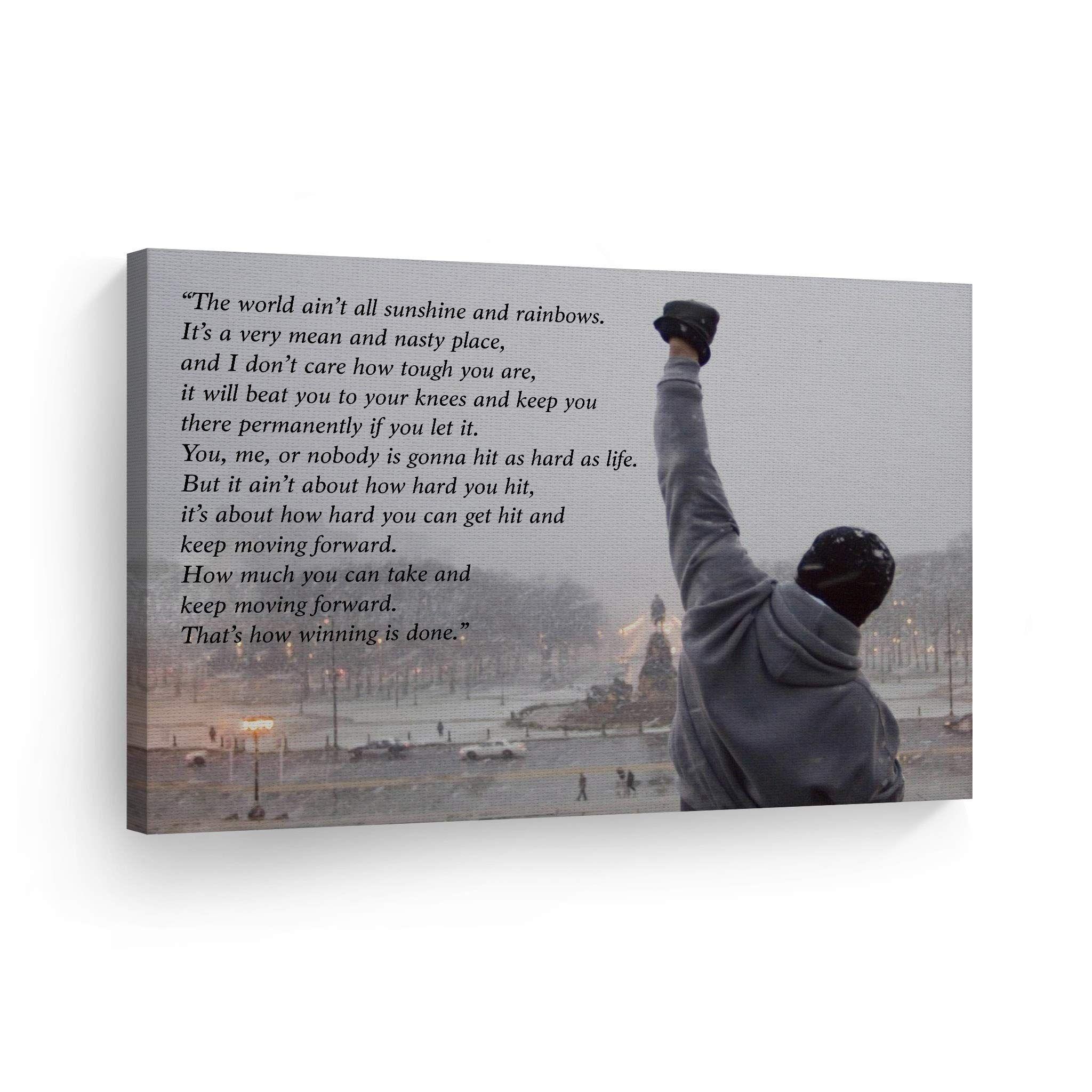 Smile Art Design Rocky Balboa Speech Canvas Print Motivational Quote Hope Artwork Boxing Sylvester Stallone Living Hope Artwork Canvas Quotes Canvas Print Wall