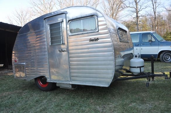 THIS TRAILER IS NOW SOLD Vintage 1961 Serro Scotty Sportsman Polished Travel Trailer Restored In The Siding Was Removed To Rep