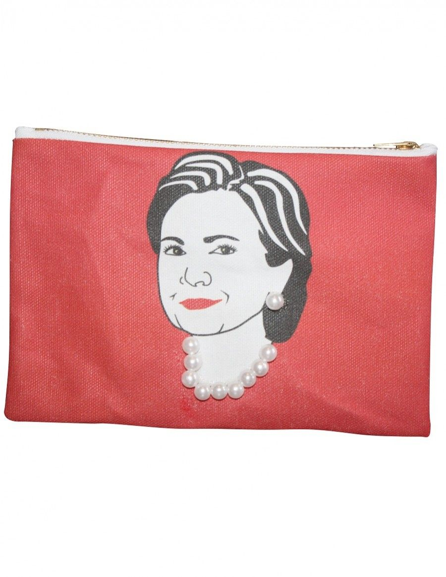 Red Hillary Clinton Zipper Pouch with Pearls at AlwaysFits.com