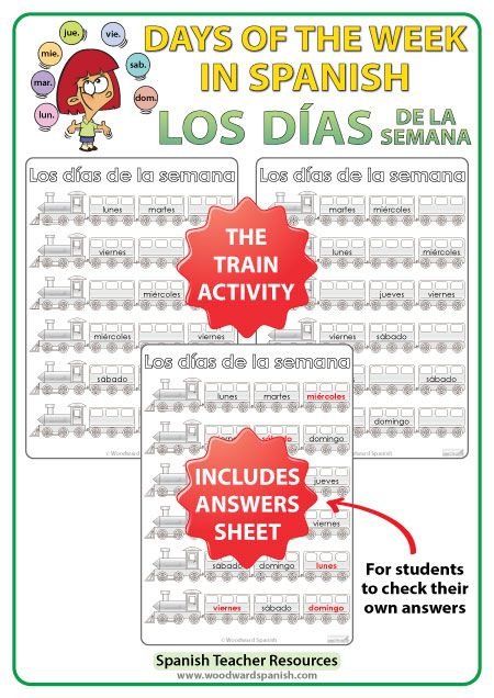 Days of the Week in Spanish Worksheets - The trains. - Los meses del año en español - Spanish Teacher Resource