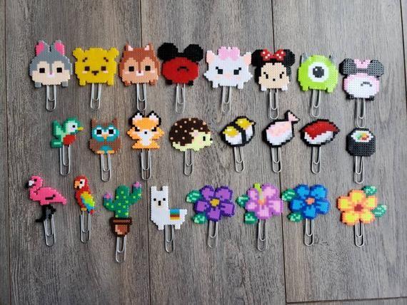Lots de 4 Marque page planificateur pixel art cactus, lama, fleurs, animaux de la forêt, sushi , tsum-tsum de Disney