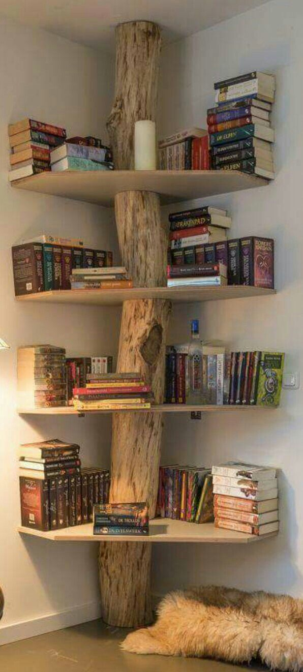 Image Only Tree Trunk With Corner Shelves Ev Icin Ikea Fikirleri Dekor