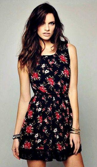 c0f623df0 Vestidos casuales cortos floreados con fondo negro | vestidos in ...