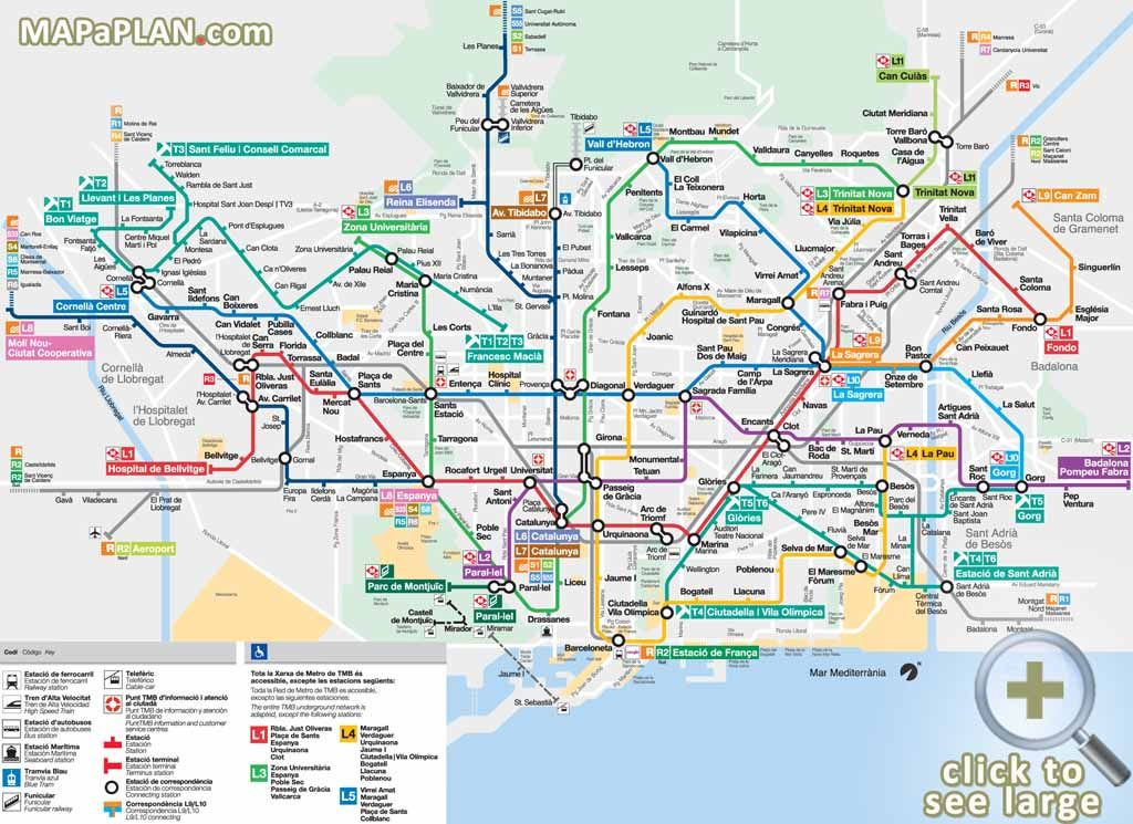 Barcelona Subway Map With City Map Overlay.Metro Subway Tube Stations Visitors Map With Major Streets Overlay