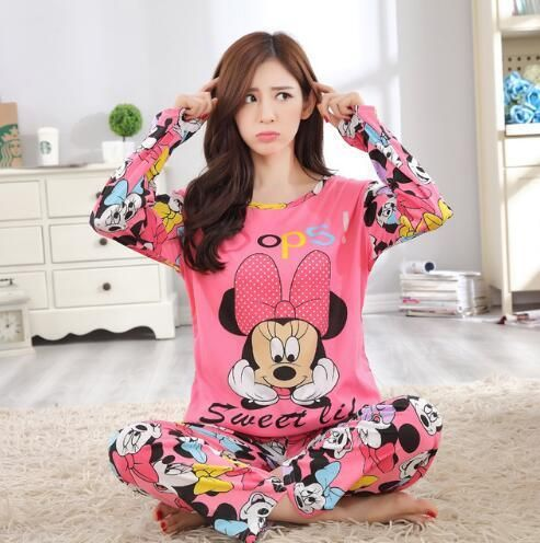 0d99e2caf6 New Listing WAVMIT 2017 Spring Pyjamas Women Carton Cute Pijama Pattern  Pajamas Set Thin Pijamas Mujer Sleepwear 90S Wholesale