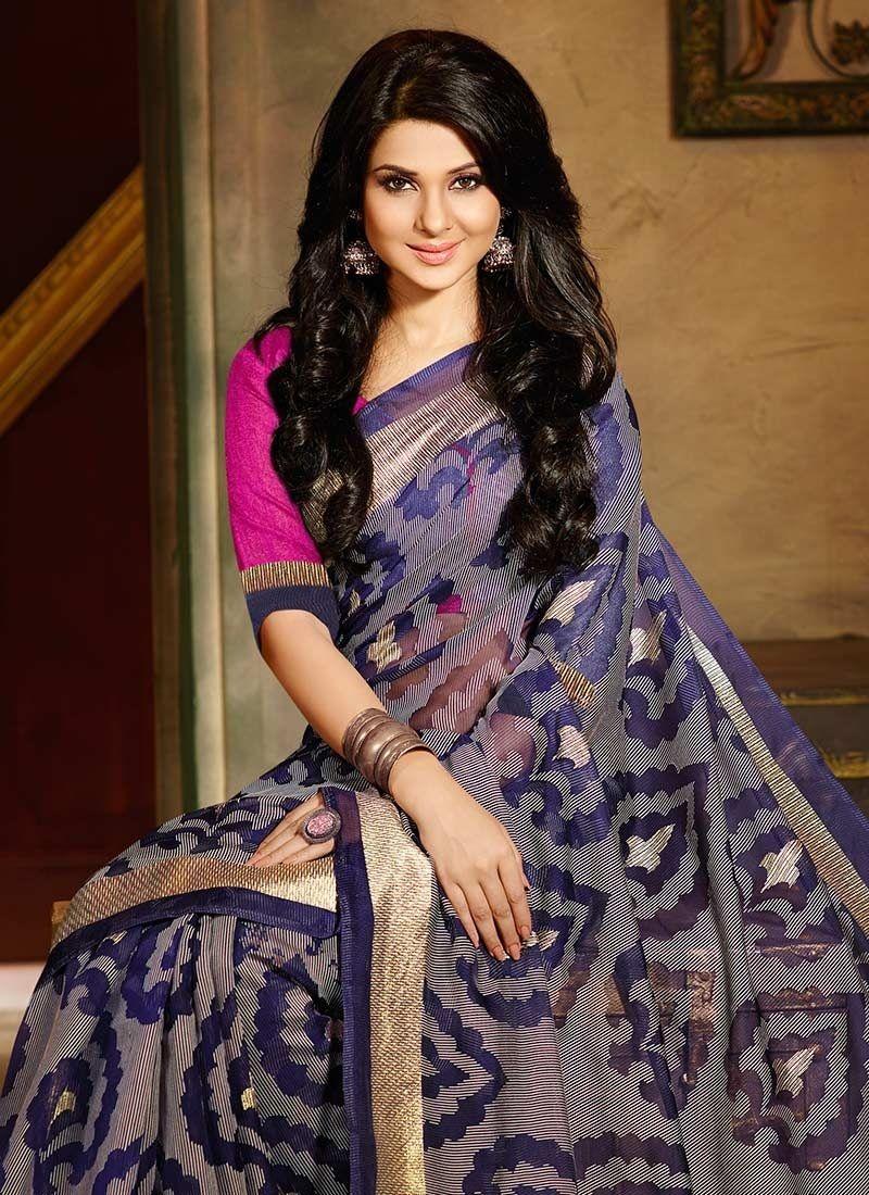 Jennifer Winget Bhagalpuri Silk Jacquard Saree Sacvi ...