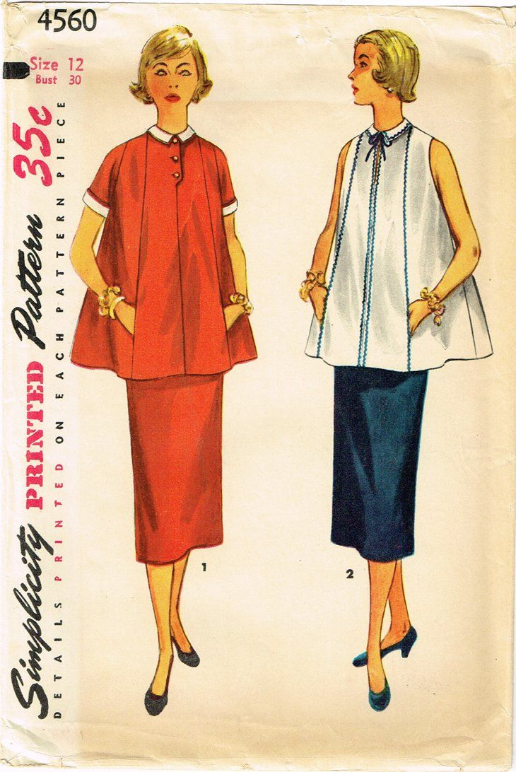 c564df906f994 Simplicity Pattern 4560 Misses' Maternity Suit Pattern with Flared Top and  Adjustable Skirt Dated 1953 Complete Nice Condition 14 of 14 Pieces Counted.