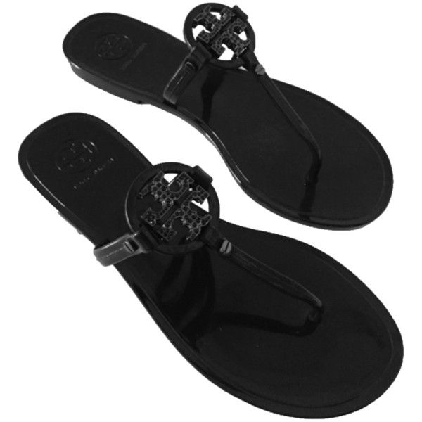 17e577100c6ed Pre-owned Tory Burch Mini Miller Thong Jelly Crystals Flip Flop Blac ...