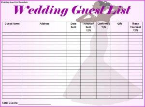Free Printable Wedding Guest List Tracker Worksheet On Template