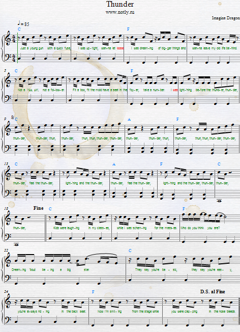Imagine Dragons Thunder Download Pdf Piano Sheet Music Learnpiano