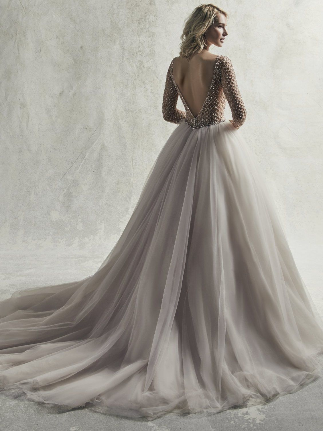 a2b0b3120a79 Sottero and Midgley - FITZGERALD, Regal and romantic, this sleeved princess wedding  dress features a sheer bodice of geometric beading and Swarovski ...