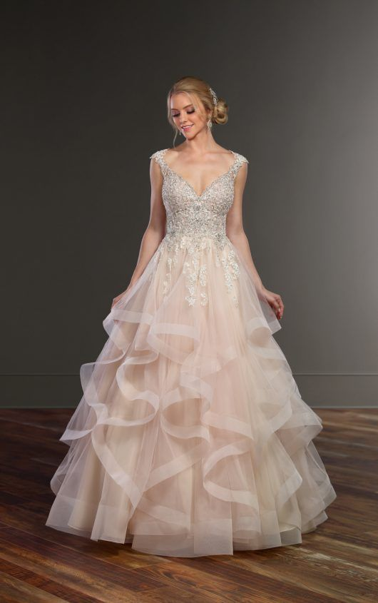 Princess Cut Wedding Dress with Layered Tulle Skirt | Princess cut ...