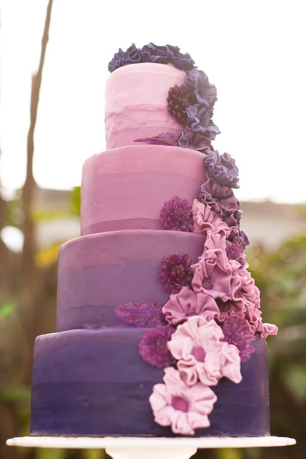 The Purple Ombre Cake A Magical Wedding Outdoor Reception Ideas Everafterguide