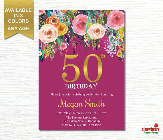 50th Birthday Invitation for Women. Cheers To 50 Years. Floral