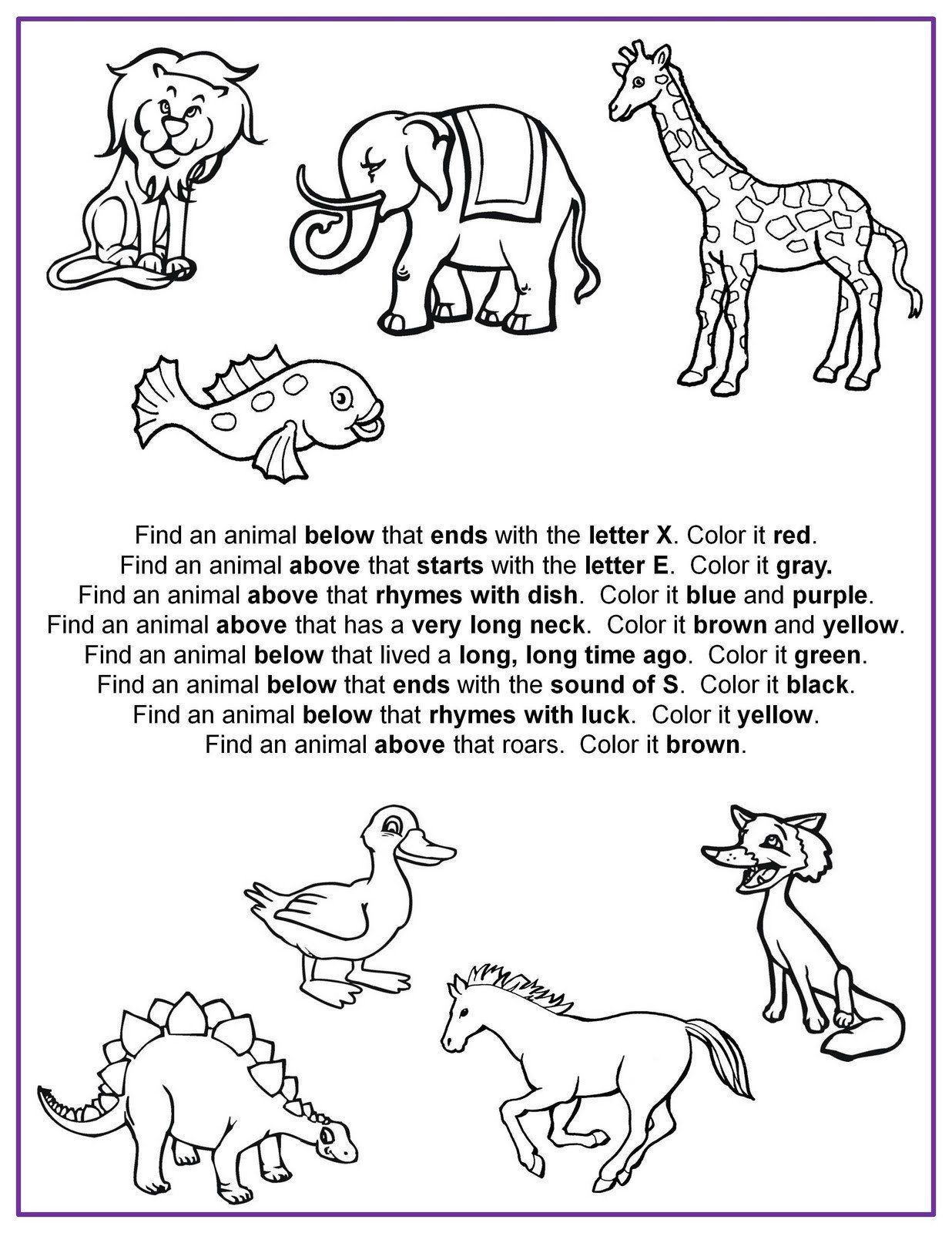 Following Directions Coloring Worksheet Following