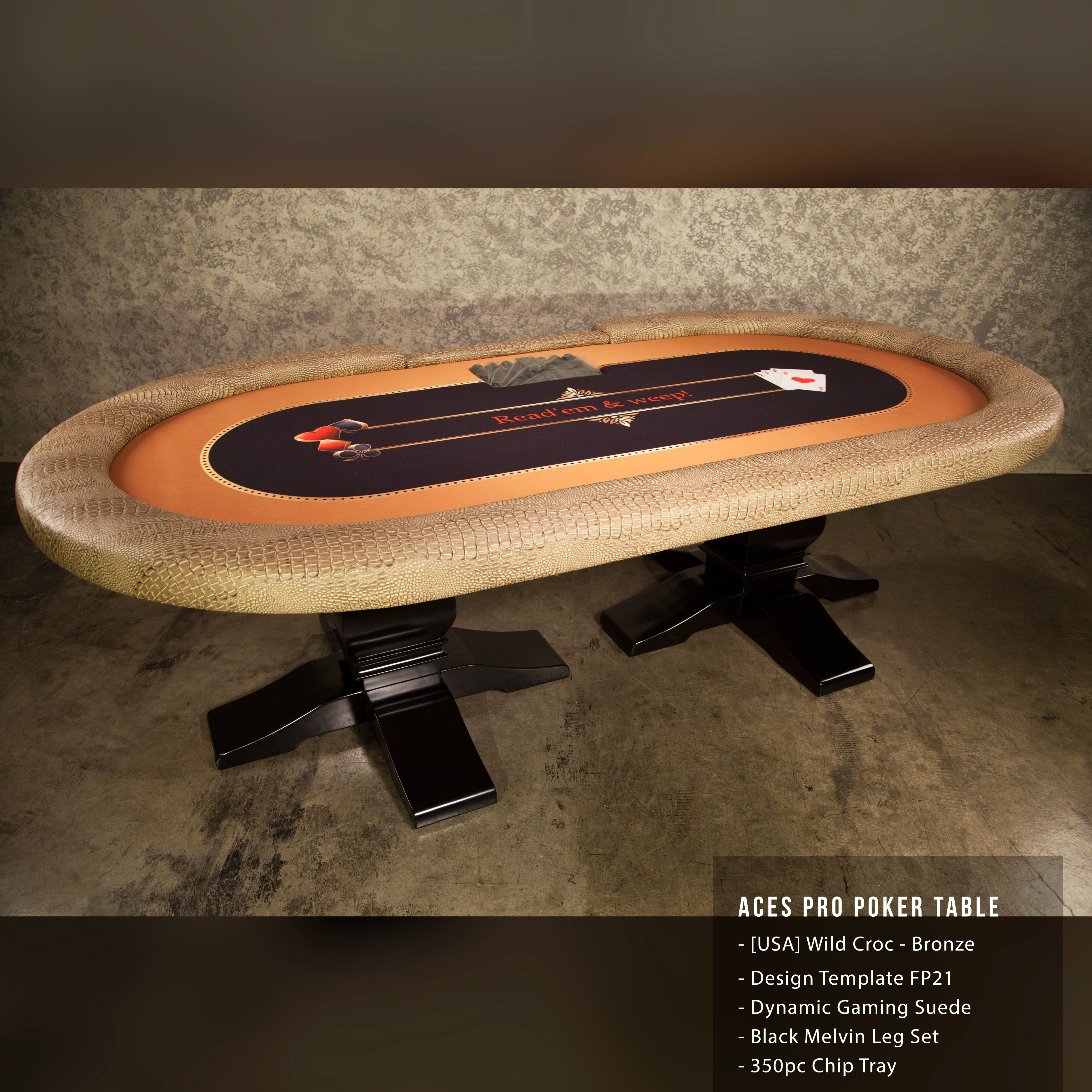 This is a gorgeous Aces Pro Poker Table on Melvin Legs with Exotic ...