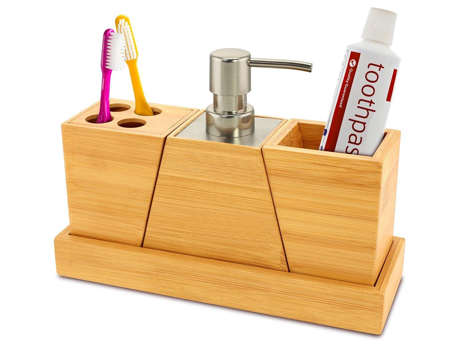 Kovot Elegant And Stylish Bamboo Bathroom Set Home Kitchen