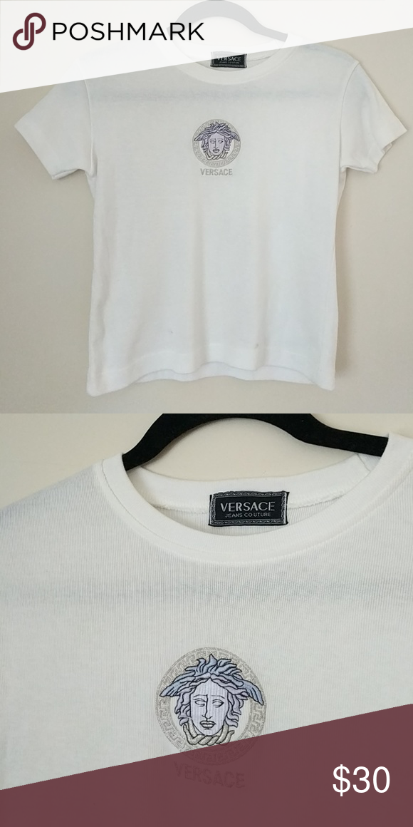 Versace jeans couture white tee shirt Cropped white T shirt