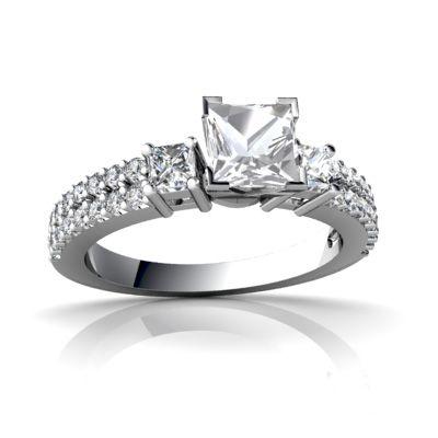 White Topaz Engagement 14K White Gold Ring R26435SQ - front view
