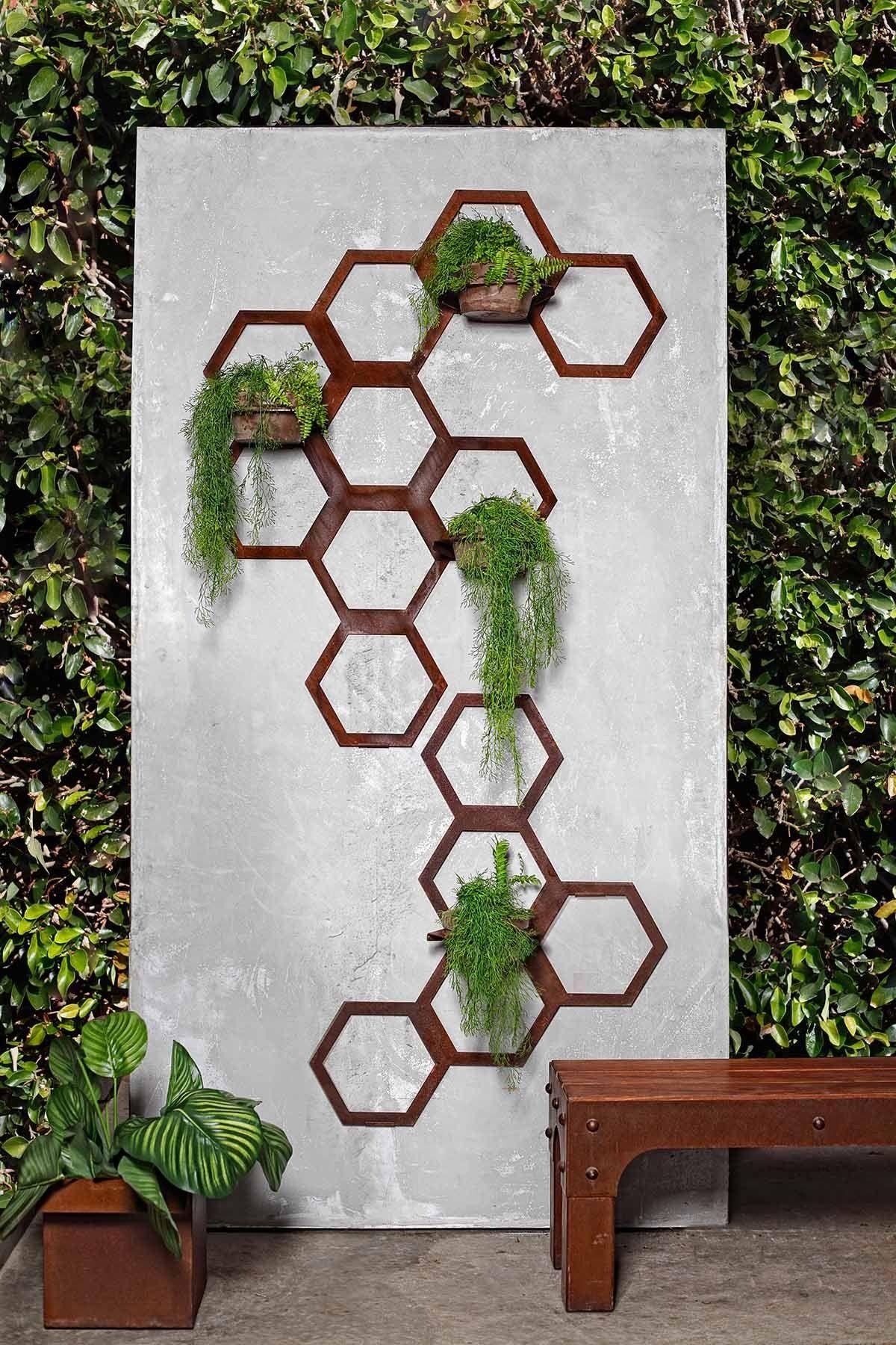 Hexagon Trellis Planters Range Planter Trellis Wall Planters Outdoor Metal Wall Planters