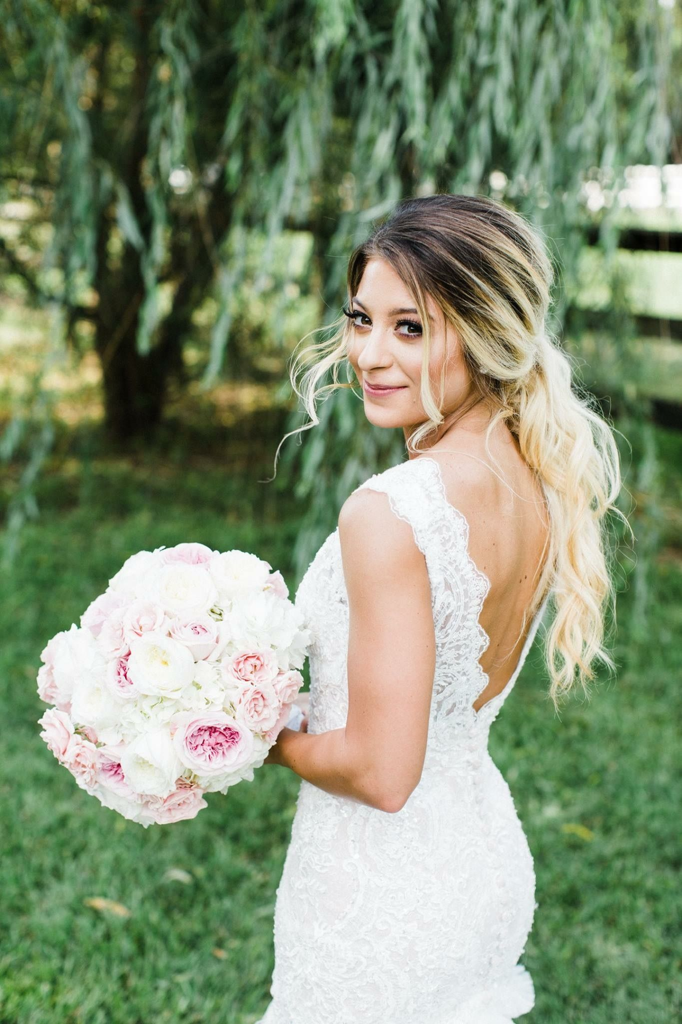 Bridal ponytail hairstyle wedding lace lace weddings