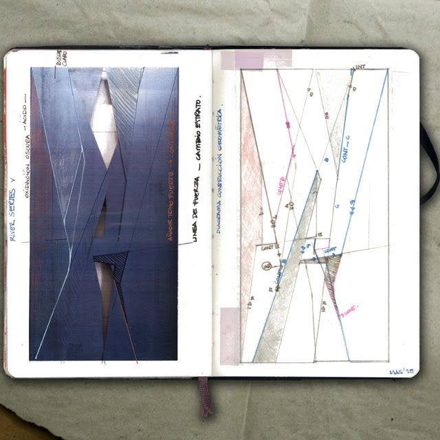 rougart drawing: RIVER SERIES V (New geometrical study on a steel plate)_Collage, 2015_Mariasun Salgado