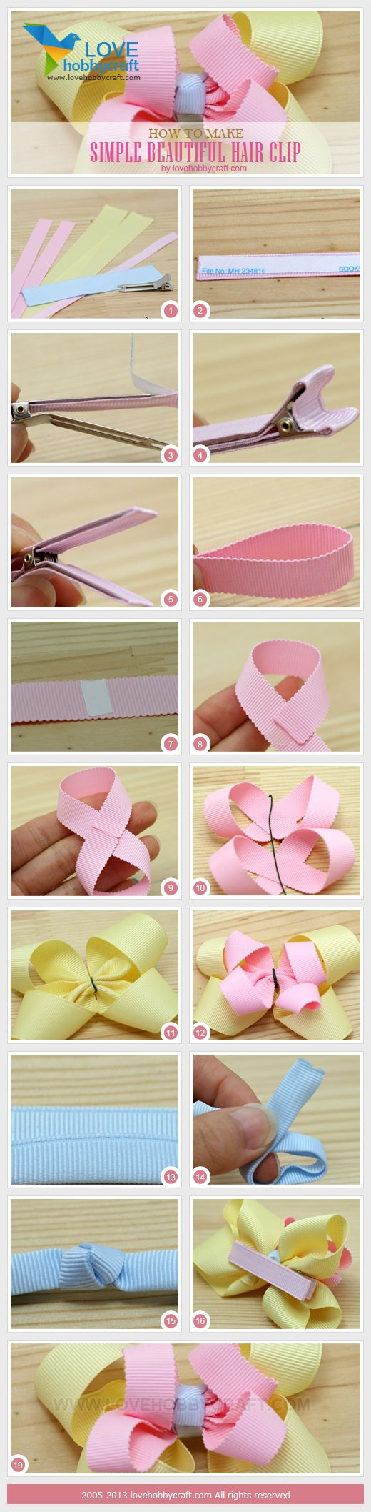 simple instructions on how to make a hair clip/bow