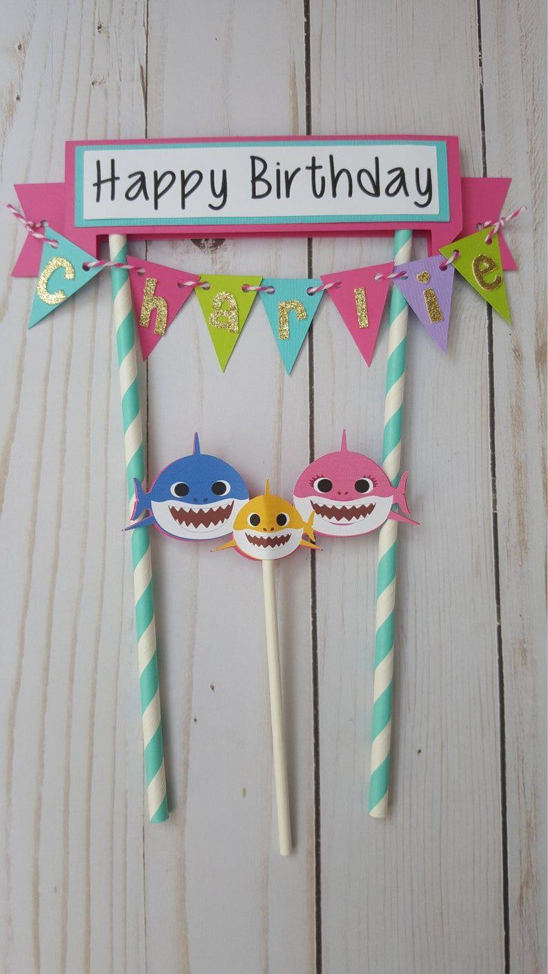Baby shark cake topper decoraciones de la fiesta del
