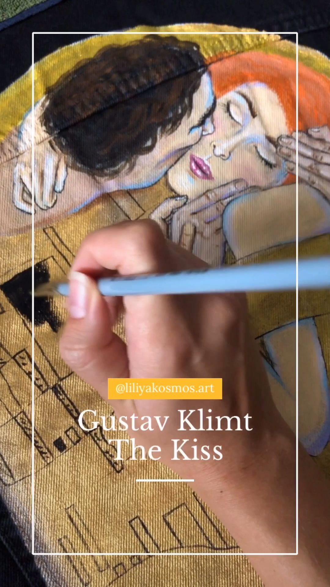 Painted denim jacket Gustav Klimt The kiss (! Please read the description !)