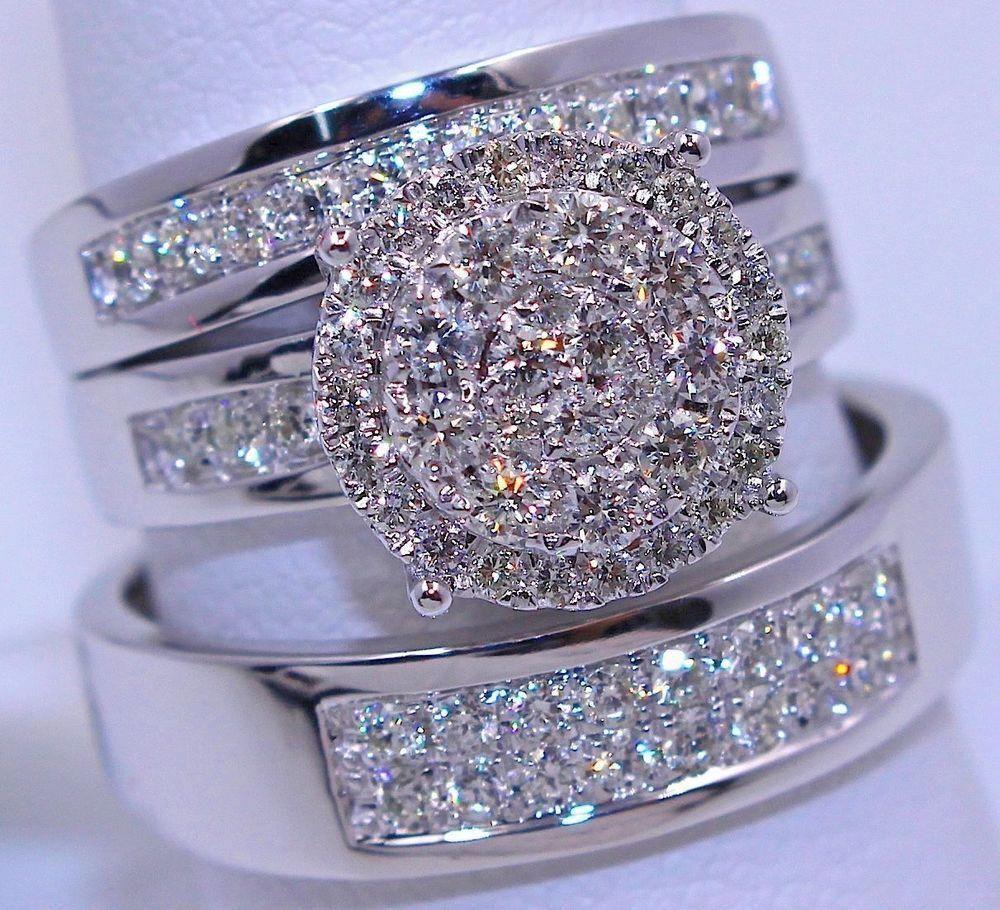 White Gold Finish His Her Engagement Wedding Band Bridal